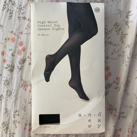 Black High-Waisted Control Top Opaque Tights
